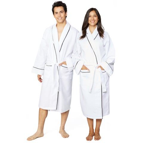Cotton Unisex Waffle Weave Bath Robe with Stylish Piping
