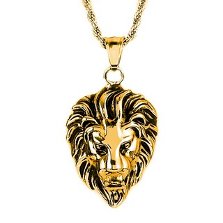"""Crucible Polished Stainless Steel Lion Head Pendant Necklace - 24"""" (Option: Yellow)"""