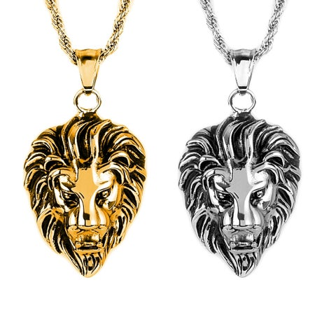 """Crucible Polished Stainless Steel Lion Head Pendant Necklace - 24"""""""