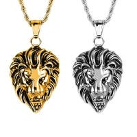 Crucible Polished Stainless Steel Lion Head Pendant Necklace - 24""