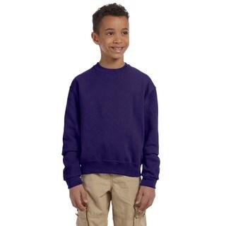 Jerzees NuBlend Boys' Deep Purple Polyester and Cotton Crewneck Sweatshirt