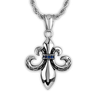 Crucible Men's Stainless Steel Blue Cubic Zirconia Fleur de Lis Pendant on 24 Inch Rope Chain Necklace