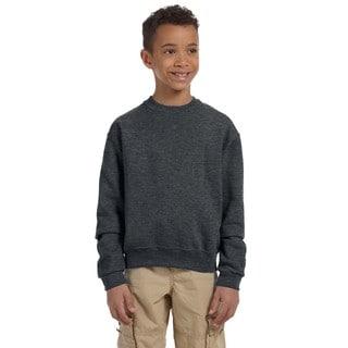 Nublend Boy's Charcoal Grey Crew Neck Sweatshirt