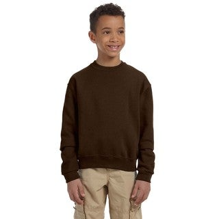 Nublend Boy's Brown Polyester Cotton Crew Neck Sweatshirt