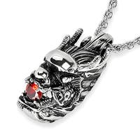 Crucible Men's Stainless Steel Red Crystal Dragon Pendant on 24 Inch Rope Chain Necklace