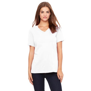 Missy's Girl's White Relaxed Jersey Short-sleeved V-neck T-shirt