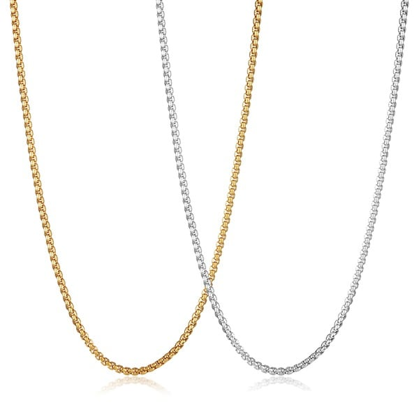 Crucible Men  x27 s Polished Stainless Steel Box Chain Necklace - 30 Inches  ( 4ad309d25a75