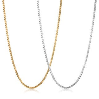 Crucible Men's Polished Stainless Steel Box Chain Necklace - 30 Inches (3.5mm Wide)