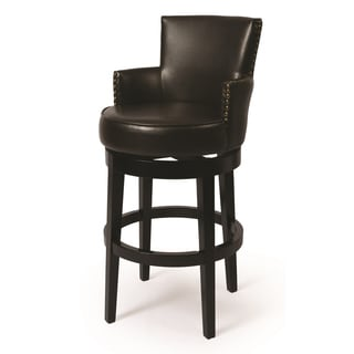 Zadar Brown Faux Leather and Black Wood Swivel Stool with Arms