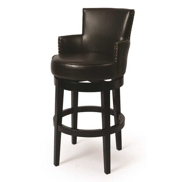 Shop Zadar Brown Faux Leather And Black Wood Swivel Stool