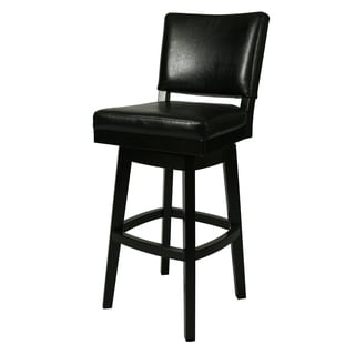Richfield Black Wood and Faux Leather Swivel Stool