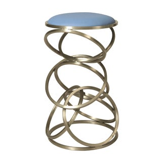 Roxanne Blue Faux Leather and Stainless Steel Stool