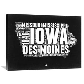 Naxart Studio 'Iowa Black and White Map' Stretched Canvas Wall Art