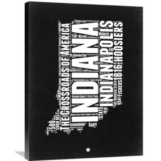 Naxart Studio 'Indiana Black and White Map' Stretched Canvas Wall Art
