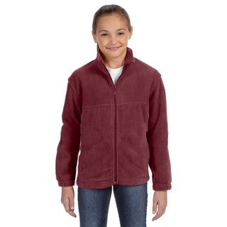 Youth Wine Polyester 8-ounce Full-zip Fleece