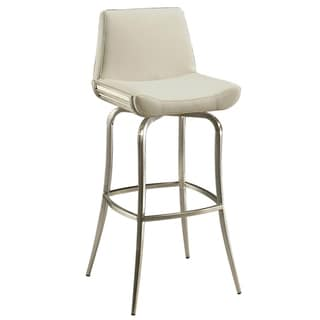 Degorah Silver/Off-white Stainless Steel/Faux Leather Swivel Stool