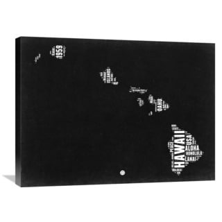 Naxart Studio 'Hawaii Black and White Map' Stretched Canvas Wall Art