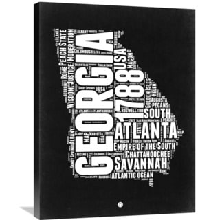 Naxart Studio 'Georgia Black and White Map' Stretched Canvas Wall Art