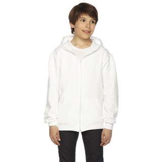 American Apparel Flex Boy's White Polyester Cotton Fleece Zip Hoodie