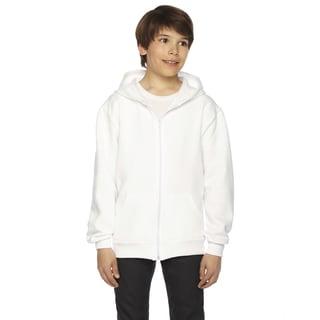 American Apparel Flex Boy's White Polyester Cotton Fleece Zip Hoodie