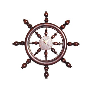 Handmade D-Art Mahogany Captain's Wheel Clock (Indonesia)