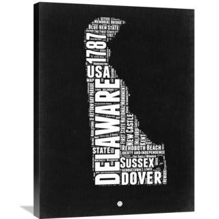 Naxart Studio 'Delaware Black and White Map' Stretched Canvas Wall Art