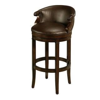 Princetown Distressed Cherry Wood/Faux Leather Swivel Stool with Arms