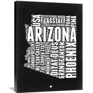 Naxart Studio 'Arizona Black and White Map' Stretched Canvas Wall Art