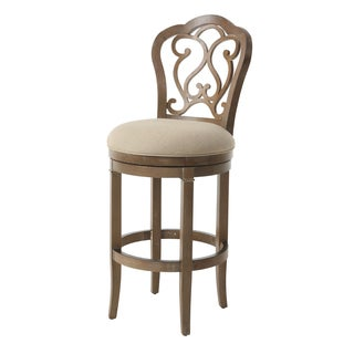 Fontana Wood and Leather Swivel Stool