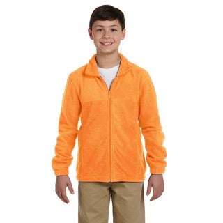 Boys' Safety Orange Polyester Full-zip Fleece