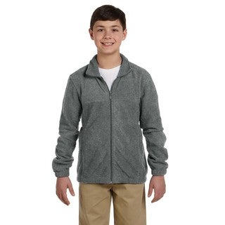 Youth Polyester Charcoal Fleece Full-zip Jacket