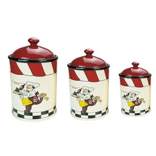 Lorren Home Trend Chef Collection White Ceramic 3-piece Canister Set