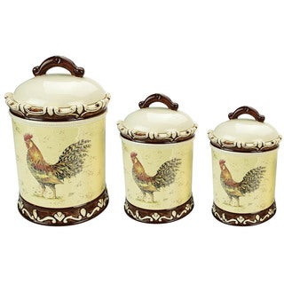 Lorren Home Trend Morning Rooster Collection 3-piece Canister Set