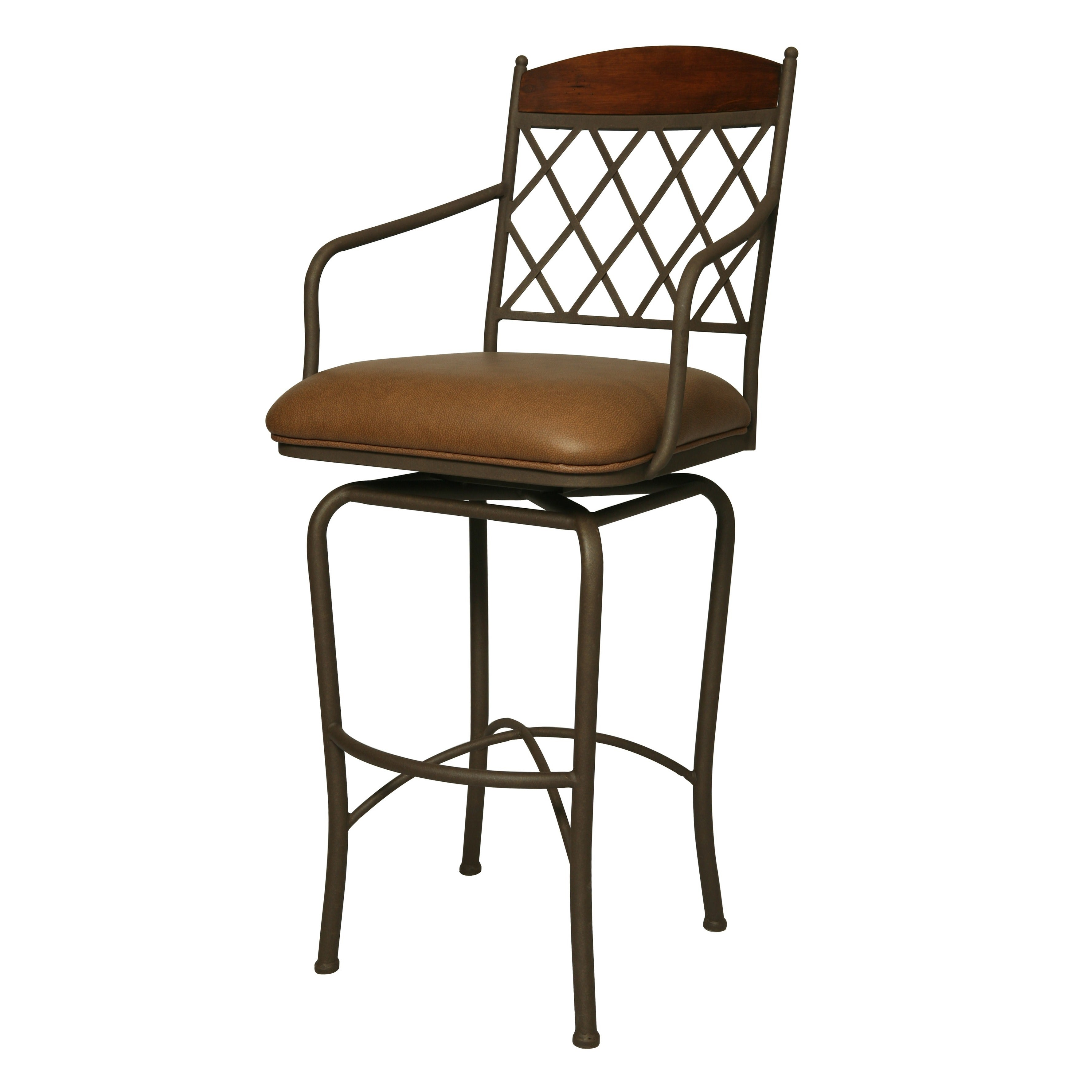Sensational Napa Ridge Powder Coated Tan Bronze Steel Veneer Faux Leather Swivel Stool Gamerscity Chair Design For Home Gamerscityorg