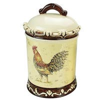 Morning Rooster Collection Ceramic Cookie Jar and Lid