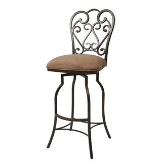 Magnolia Tan Suede/Steel Swivel Barstool