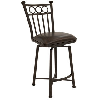 Bostonian Powder-coated Bronze Steel/Faux Leather Swivel Barstool