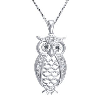 Silverplated Diamond Accent Fashion Owl Pendant