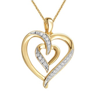 14k Yellow Goldplated Diamond Accent Fashion Heart Pendant