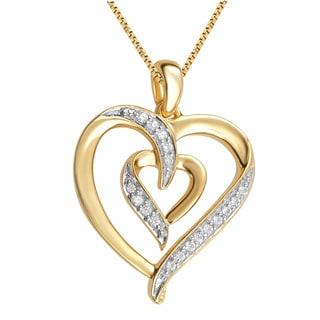 14k Yellow Goldplated Diamond Accent Fashion Heart Pendant