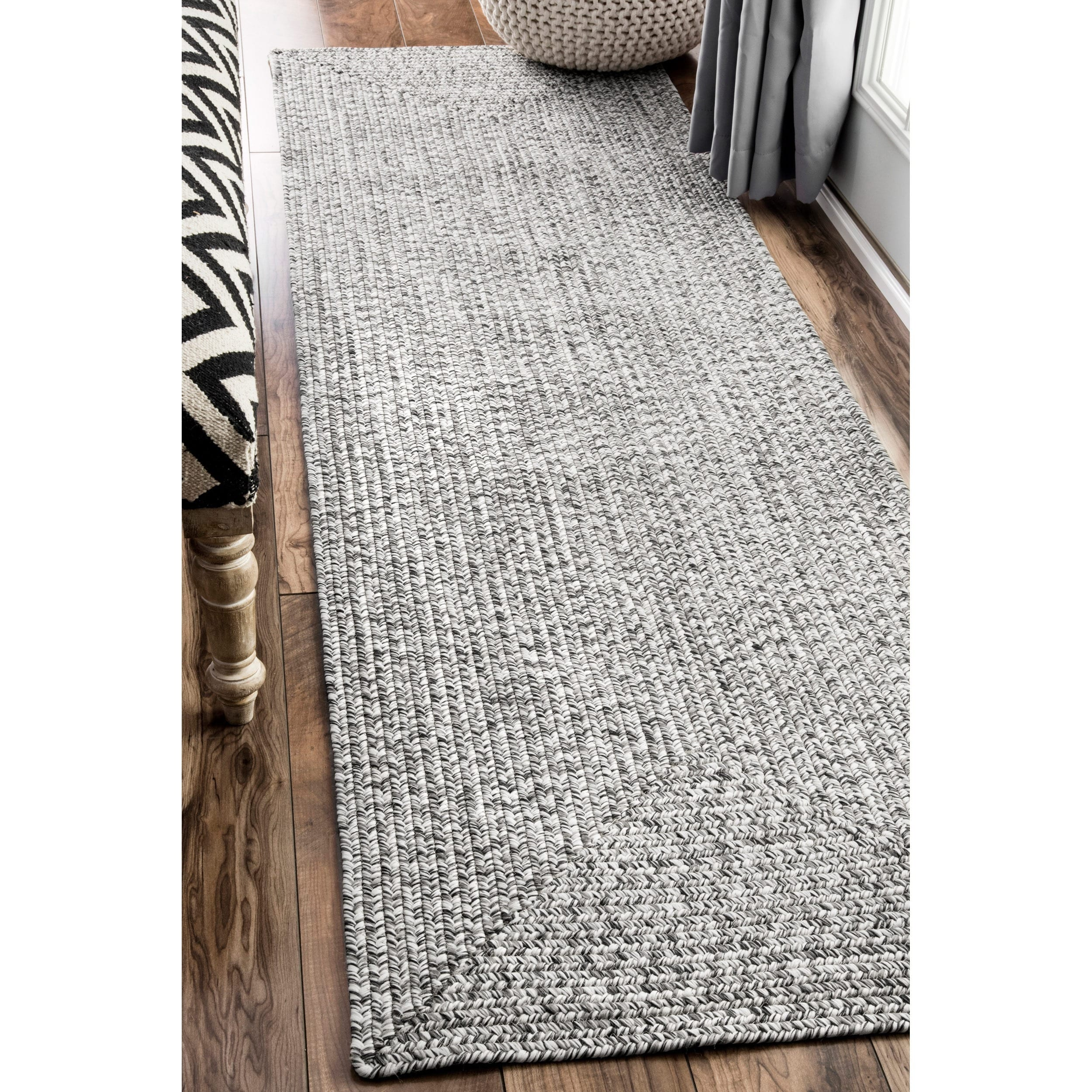 Nuloom Handmade Casual Solid Braided Runner Grey Rug 2 X27 6 X 12