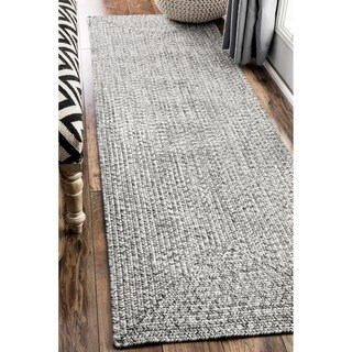 Oliver & James Rowan Handmade Grey Braided Runner Rug (2'6 x 12')