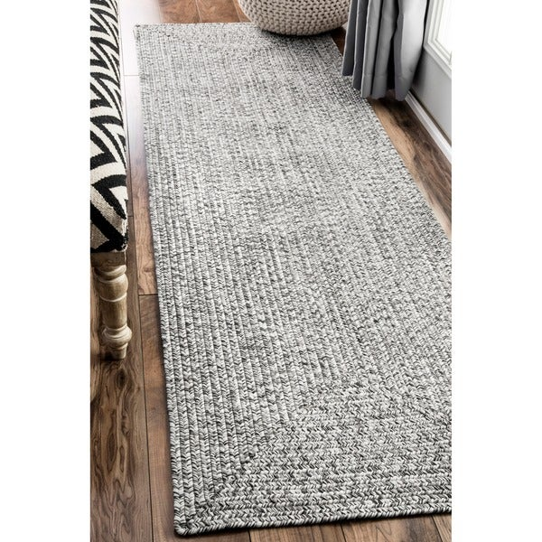 nuLOOM Handmade Casual Solid Braided Runner Grey Rug (2u0026#39;6 x 12u0026#39;) - Free Shipping Today ...
