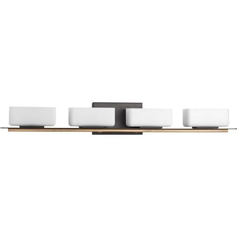 Progress Lighting P2718-20 Rush Brown Brass and Opal Glass 4-light Bath Fixture