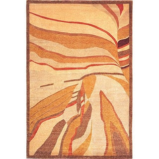 Abbyson Living Hand-knotted Gold/ Rust 'Silhouette' Wool Rug (8' x 10')