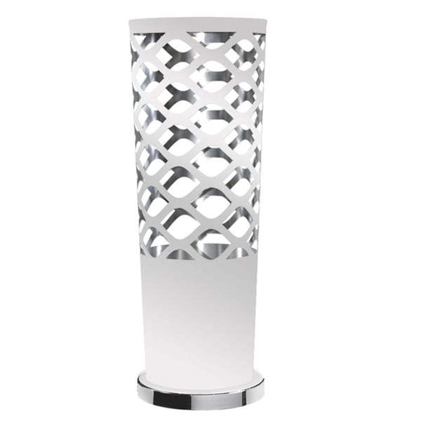 Dainolite 1-light Cut-out Table White on Silver Lamp