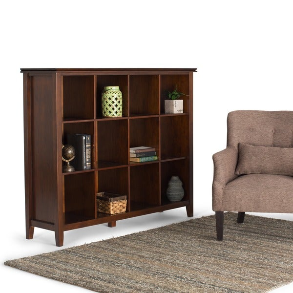 shop wyndenhall stratford auburn brown 12 cube bookcase and storage unit free shipping today. Black Bedroom Furniture Sets. Home Design Ideas