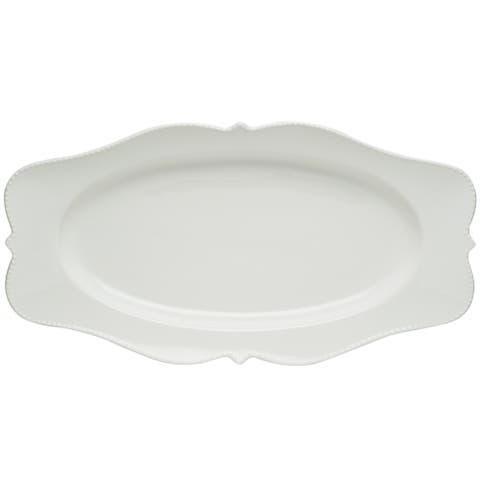 """Red Vanilla Pinpoint White Oval Platter 16.5"""" x 9"""""""