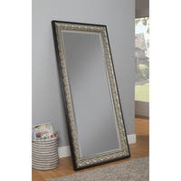 Sandberg Furniture Monaco Full Length Leaner Antique Silver and Black Mirror - Silver/Black
