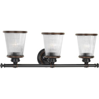 Progress Lighting P2171-139 Radiance Black/Brown Wood 3-light Bath Light